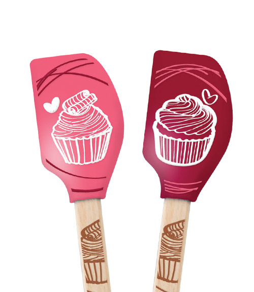 Spatulart™ Wood HandledMini Cupcake Spatulas - Set of 2